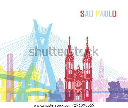 Sao Paulo skyline pop in editable vector file - stock vector