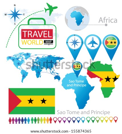Sao Tome and Principe. flag. World Map. Travel vector Illustration. - stock vector