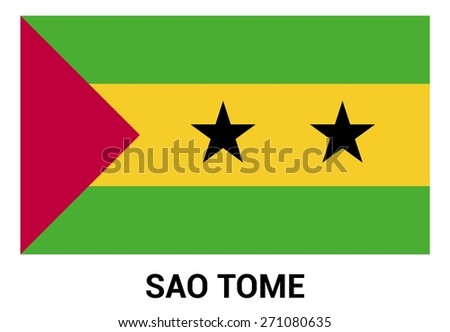 SAO Tome flag isolated vector in official colors and Proportion Correctly. country's name label in bottom - stock vector
