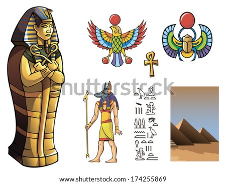 Sarcophagus of Egyptian pharaoh and other elements for design of ancient Egypt, vector illustration - stock vector