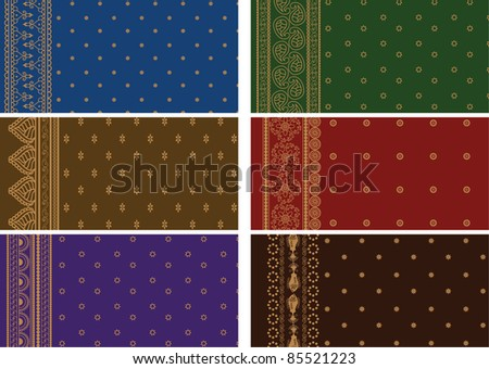 Sari Borders - Very Detailed and easily editable - stock vector