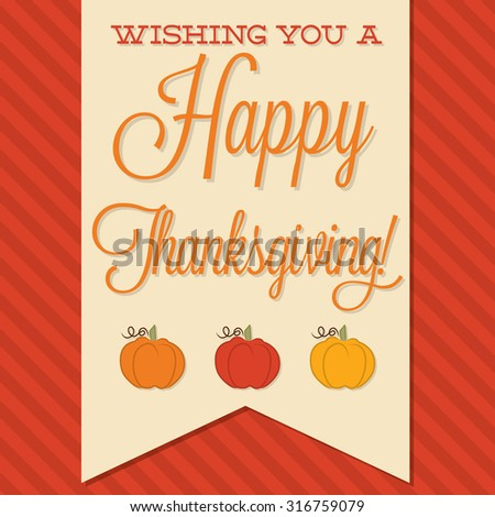 Sash Happy Thanksgiving card in vector format. - stock vector