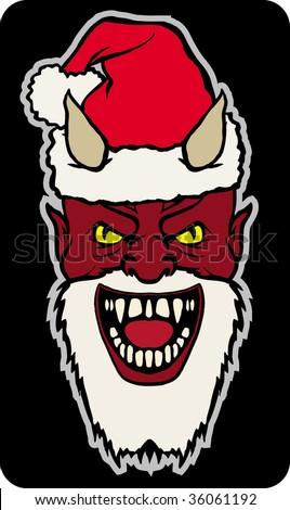 satan santa - stock vector