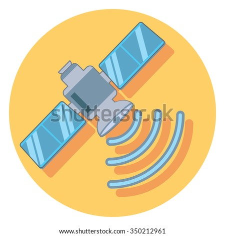 satelite circle icon with shadow - stock vector
