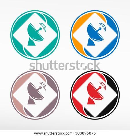 Satellite antenna - round color set. Web icon element. - stock vector