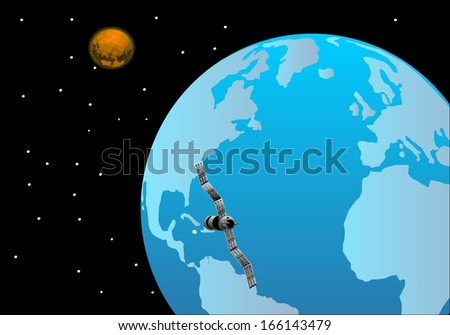 Satellite around earth space view  - stock vector