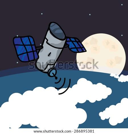 satellite design over space background, vector illustration - stock vector