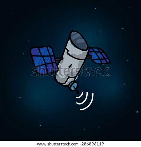 satellite design over space background, vector illustration, Editable EPS 10 - stock vector