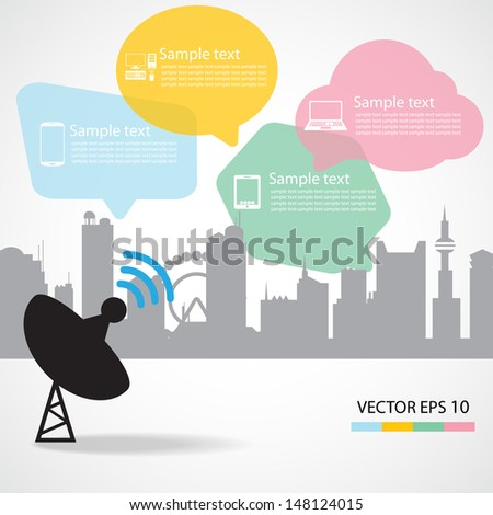 Satellite dish and city background - stock vector