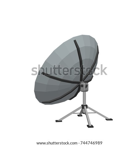 Satellite dish antenna. Isolated on white background. 3D Vector illustration.