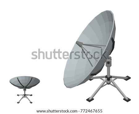 Satellite dish antenna. Isolated on white background. 3D Vector illustration. Isometric projection.