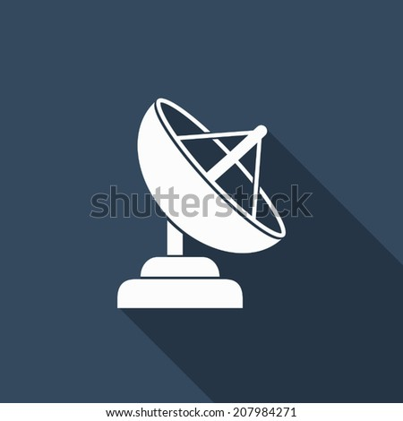 satellite dish icon with long shadow - stock vector