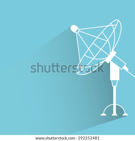 satellite dish in blue background, shadow and flat theme - stock vector