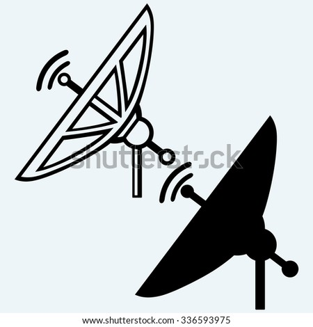 Satellite dish. Isolated on blue background. Vector silhouettes - stock vector