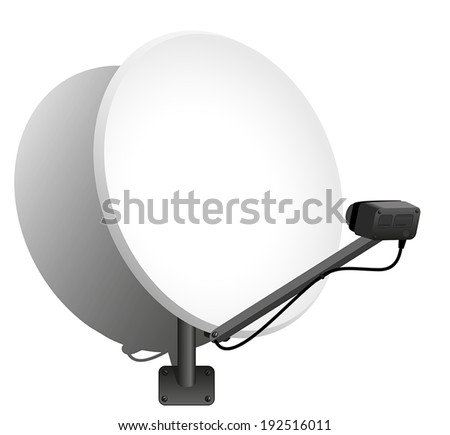 Satellite dish to receive signals for television, radio, internet. Vector illustration on over white background. - stock vector