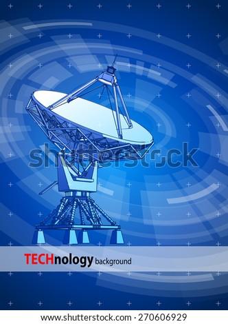 satellite dishes antenna - doppler radar & blue radial technology background. Vector illustration / eps10 - stock vector