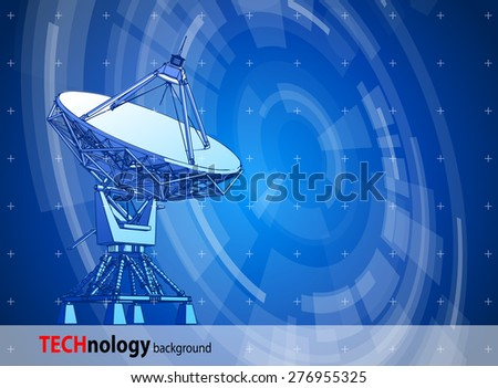 satellite dishes antenna - Doppler radar & blue radial technology background. Vector illustration / eps10 - stock vector