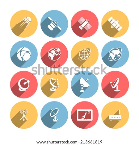 Satellite dishes two-way upload download data communication solid round icons set abstract shadow isolated vector illustration - stock vector