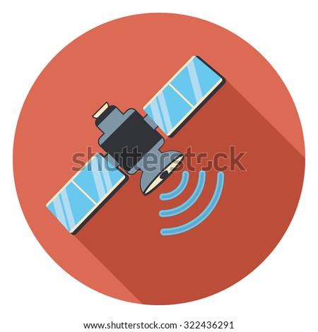 satellite flat icon in circle - stock vector