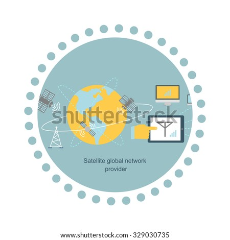 Satellite global network provider icon flat. Internet communication, computer technology, information digital, signal and connection station, web wireless space illustration - stock vector