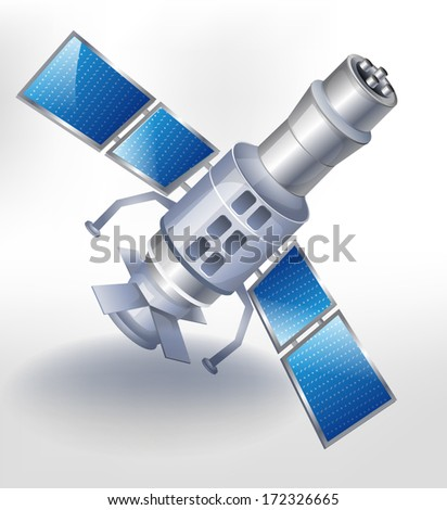 Satellite Icon Isolated on White - stock vector
