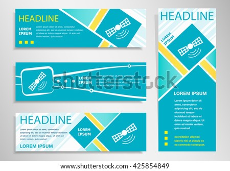 Satellite icon  on vertical and horizontal banner. Modern abstract flyer, banner design template.  - stock vector