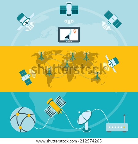Satellite icons composition of global navigation ground stations and dish communication technology banners flat isolated vector illustration - stock vector