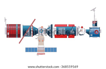 Satellite in space red blue white on black flatten isolated illustration vector - stock vector