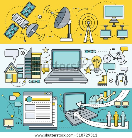 Satellite internet global network providers. Technology wireless, interconnection web, traffic online, connection and communication, wifi web page flow information, worldwide. Set of thin, lines icons - stock vector