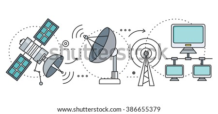 Satellite internet global network providers. Technology wireless, interconnection web, traffic online, connection and communication, wifi webpage, flow information, worldwide. Set of thin, lines icons - stock vector