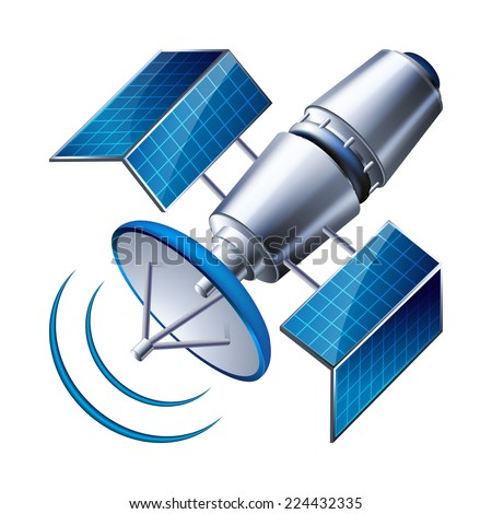 satellite isolated on white background. vector illustration - stock vector