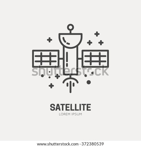 Satellite logo made in trendy line stile vector. Space series. Space exploration and adventure symbol. - stock vector
