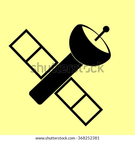 Satellite sign. Flat style icon vector illustration.
