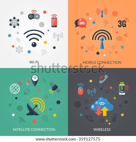 Satellite wireless connection technology for mobile electronic devices 4 flat icons square composition banner abstract isolated vector illustration - stock vector