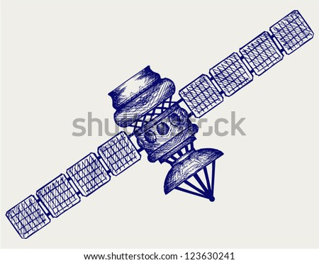 Satellite with dish antenna. Doodle style - stock vector
