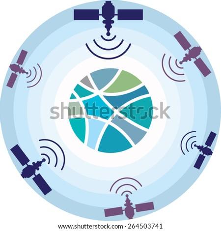 Satellites - stock vector