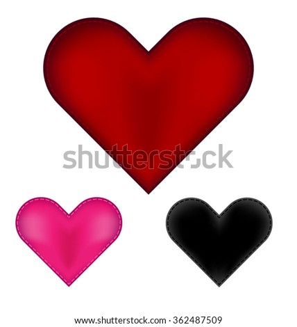 Satin hearts with stitching, eps10 vector - stock vector
