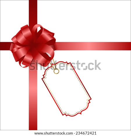 Satin red ribbon with card. Red bow isolated on white with a tag.