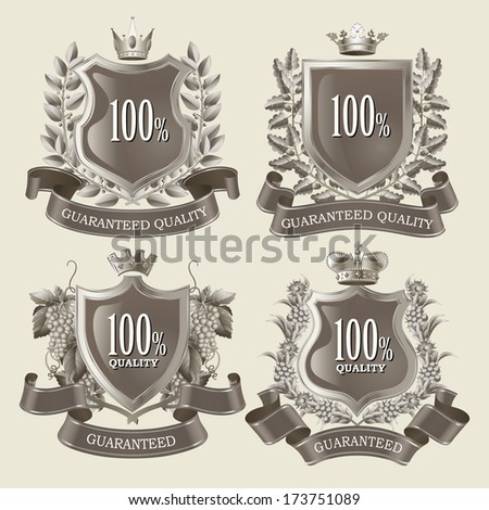 Satisfaction Guaranteed and Premium Quality Vector labels, signs, emblem, and insignia in vintage style with wreaths, ribbons and crown - stock vector