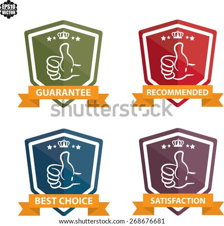 Satisfaction Guaranteed Colorful Label And Sticker With Thumb Up Icon On White Background - Vector illustration. - stock vector