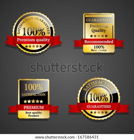 Satisfaction guaranteed gold badges - stock vector