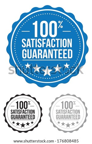 satisfaction guaranteed seal. stamp. blue. vector. set. - stock vector