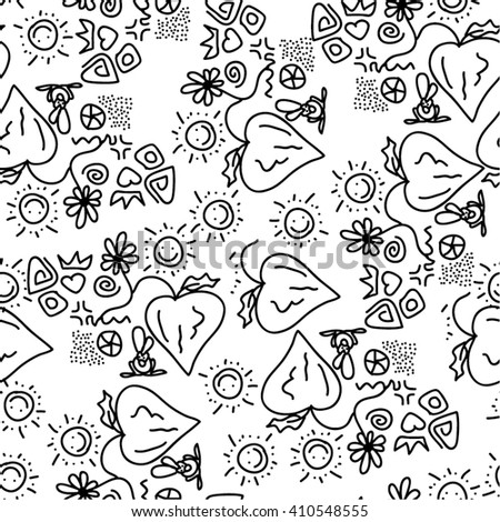 Saturated pattern childish, sun, heart, plant, seamless vector background. - stock vector