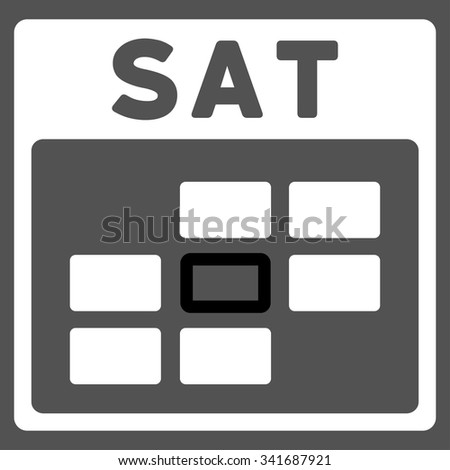 Saturday vector icon. Style is bicolor flat symbol, black and white colors, rounded angles, gray background. - stock vector
