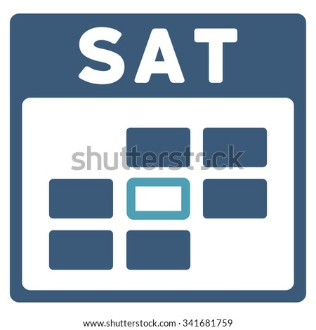 Saturday vector icon. Style is bicolor flat symbol, cyan and blue colors, rounded angles, white background. - stock vector