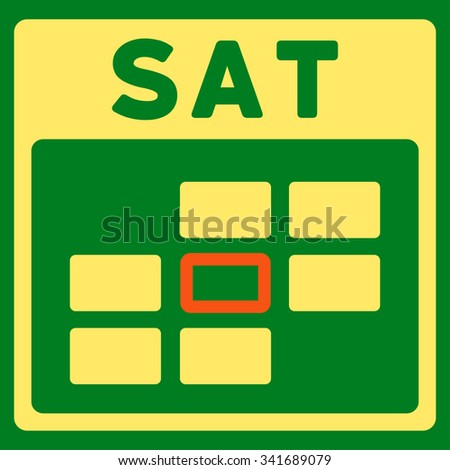 Saturday vector icon. Style is bicolor flat symbol, orange and yellow colors, rounded angles, green background. - stock vector