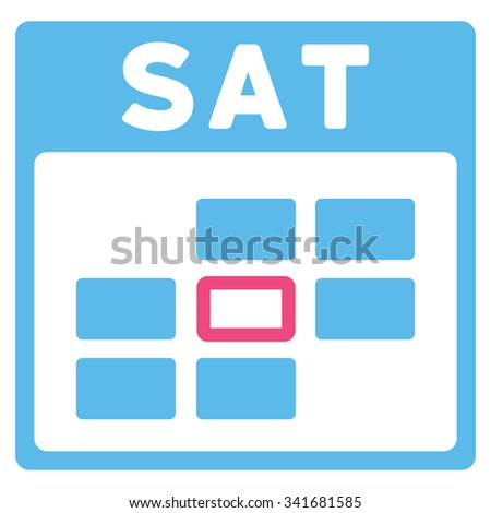 Saturday vector icon. Style is bicolor flat symbol, pink and blue colors, rounded angles, white background. - stock vector