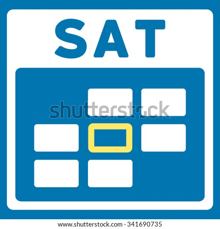 Saturday vector icon. Style is bicolor flat symbol, yellow and white colors, rounded angles, blue background. - stock vector