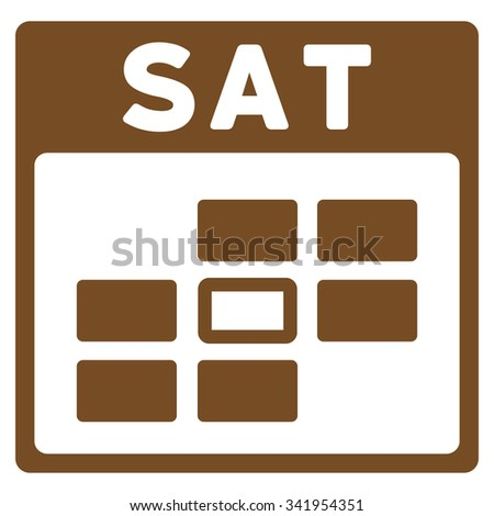 Saturday vector icon. Style is flat symbol, brown color, rounded angles, white background. - stock vector