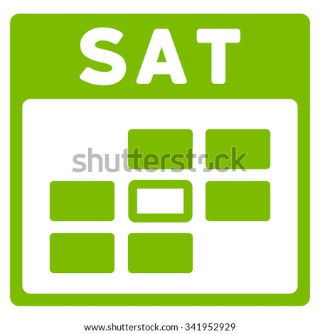 Saturday vector icon. Style is flat symbol, eco green color, rounded angles, white background. - stock vector